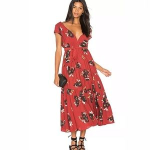 Free people size 8 All I Got Red Floral Maxi Dress